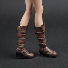 1/6 scale female woman girl fashion black brown boots shoes model fit 12 lady figure body toys gift collection