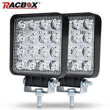RACBOX 4 дюймов 48 Вт тонкий светодиодный свет наводнение пятно дальнего света для Lada для легких грузовиков и прицепов Off Road Лодка 12 В 24 4WD стайлинга автомобилей