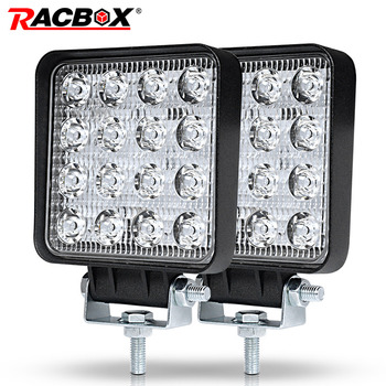 RACBOX 4 pouce 48 w Slim LED Light Work Flood Spot Conduite Lampe pour Lada Camion Remorque SUV Off Road bateau 12 v 24 v 4WD Car Styling
