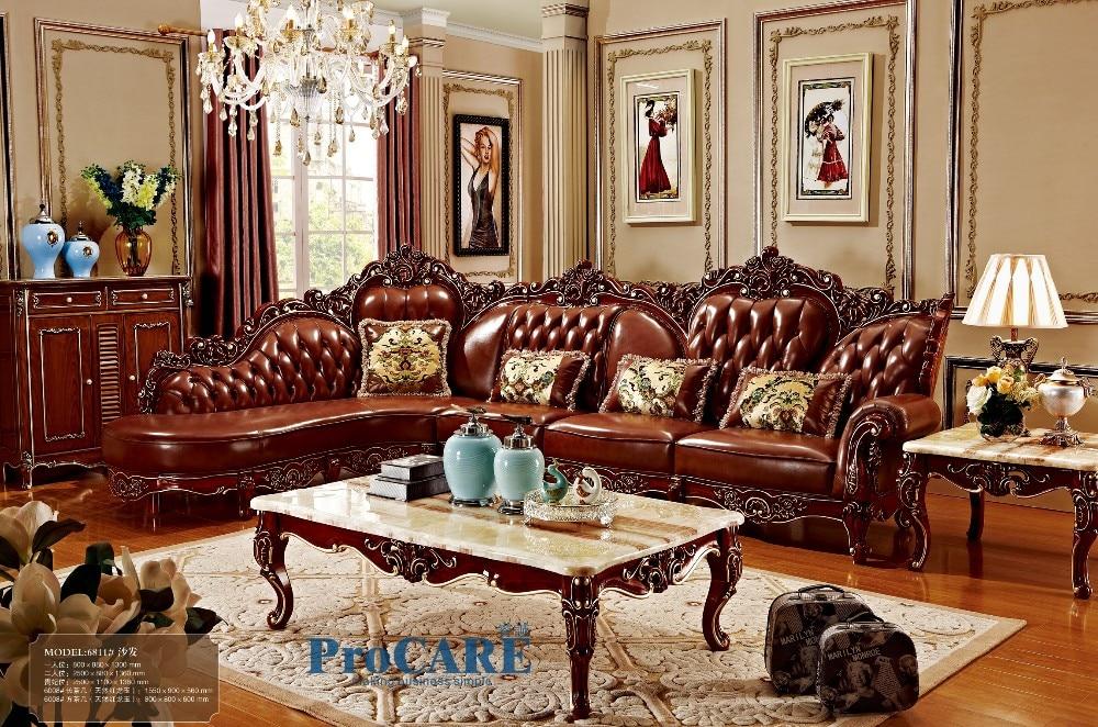 red solid wood genuine leather corner sofa set / L shape sofa set ...