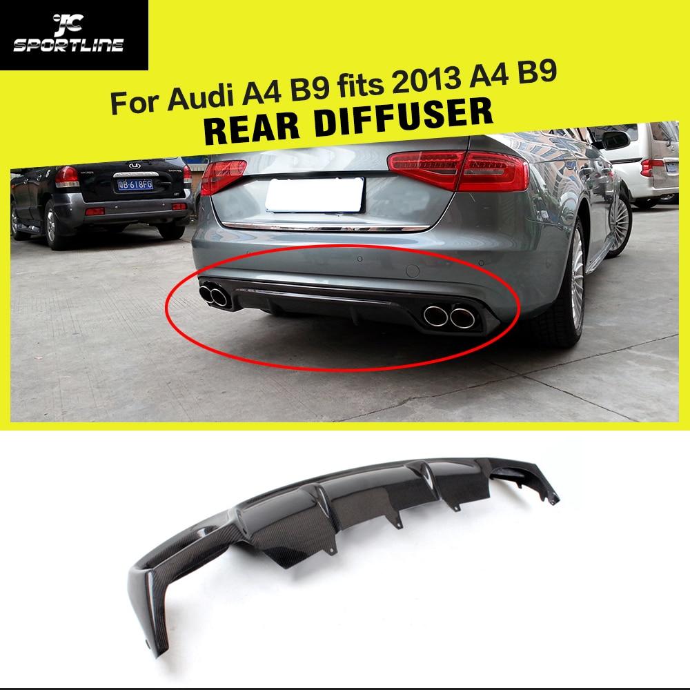 Carbon fiber car rear bumper diffuser lip for audi a4 b9 standard sedan 4 door