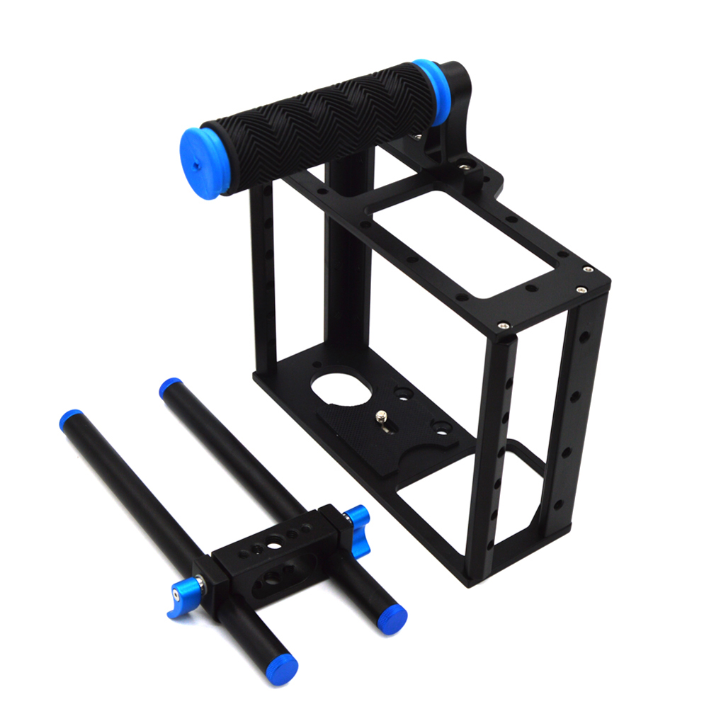 DSLR Camera Aluminum Cage with Standard 15mm Rod Rig Top Handle Kit Camera cage for Canon 5D Mark II, 7D L3FE