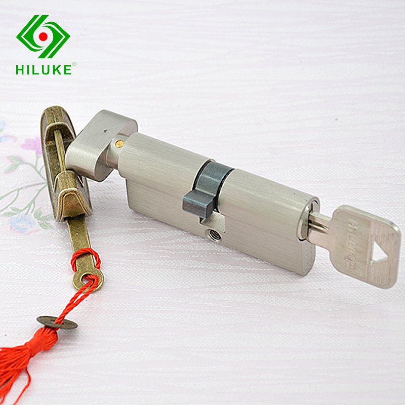 HILUKE 70mm brass alloy security single open lock cylinder five keys high quality hiluke 70mm brass lock cylinder 5pics brass key with two line and button europe standard safe door lock core single open