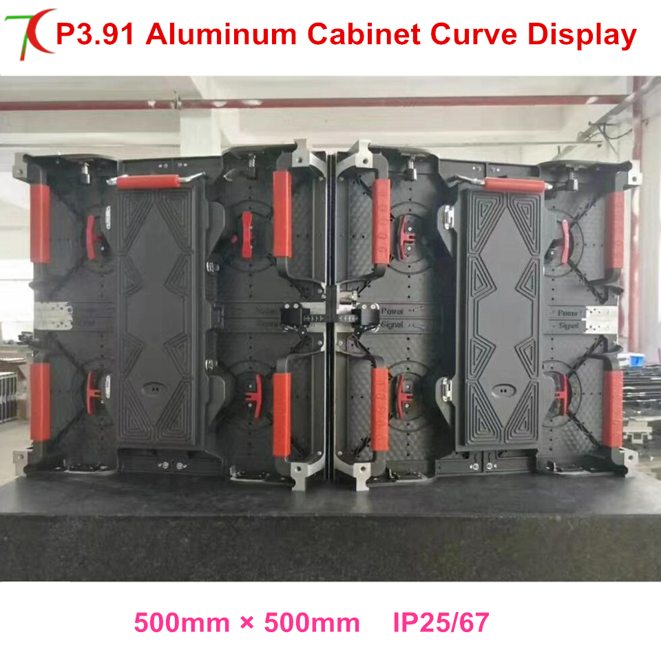 Curve Led Display P3.91 500*500mm Waterproof Die-casting Aluminum Rental Cabinet Screen
