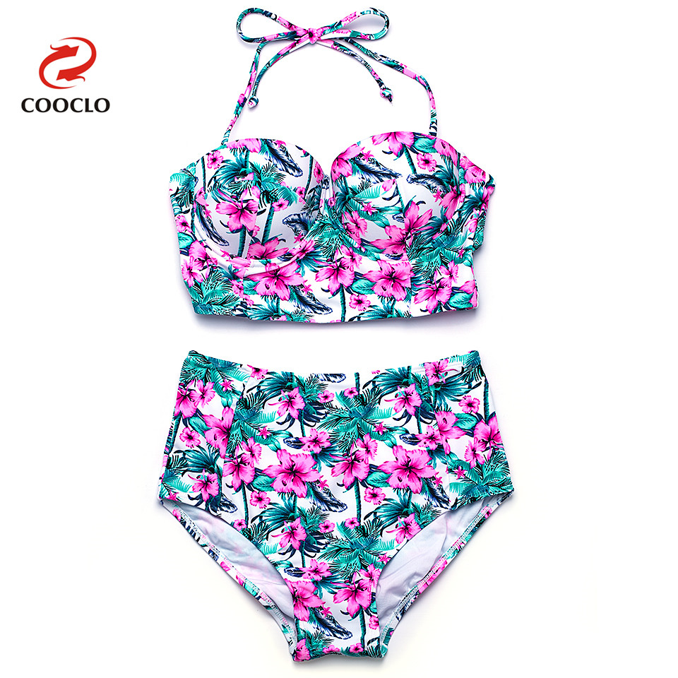 COOCLO Bikini 2018 Hot Sale High Waist Sexy Bikini Set Bandeau Top Floral Print Women Swimwear Vintage Swimsuit Bathing Suits floral underwire high waist bikini