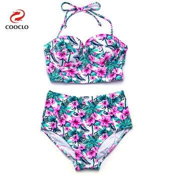 COOCLO Bikini 2019 gorąca sprzedaż seksowne Bikini z wysokim stanem zestaw Bandeau Top kwiatowy Print kobiety stroje kąpielowe w stylu Vintage strój kąpielowy garnitury
