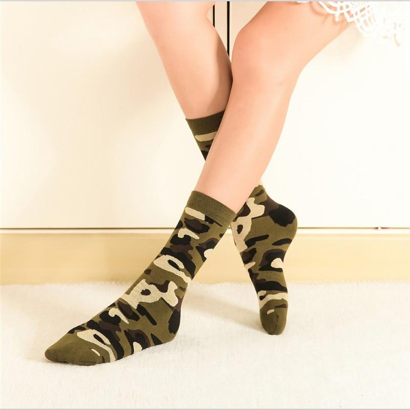2018 New Style Spring Printed Camouflage Fashion Short Socks Women Harajuku Soft Boot Loose Socks For Female Brand Designer