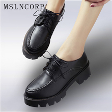 Plus Size 34-43 British Style Women Oxfords Spring Lace Up Round Toe Casual Ladies Fashion Vintage Platform Shoes Woman Casual цена