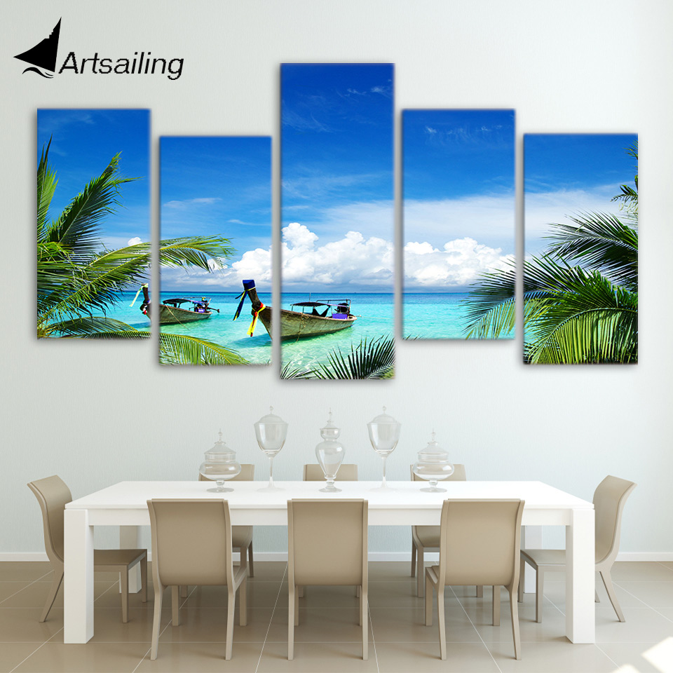 ArtSailing HD print 5 piece canvas art Summer Beach Poster modern Home decoration image paintings for living room wall ny-4405