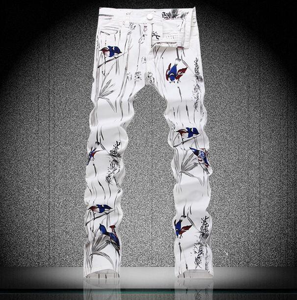 White spring thin Stage Singer Painted printing jeans mens slim elastic denim pants male jeans feet