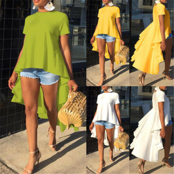 New Women's Casual Loose Short Sleeve Tunic Top Long Tail Shirt Blouse Plus Size 2