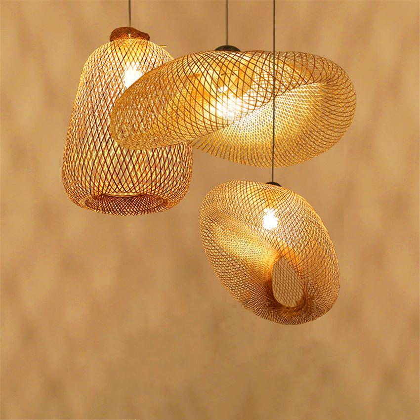 Lampes Vintage lampes suspendues salle à manger maison intérieur bois bambou Art pendentif LED lumières éclairage Luminaire en rotin Luminaire de cuisine