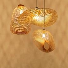 Vintage Lamps Pendant Dining Room Home Indoor Wood Bamboo Art LED Lights Lighting Rattan Luminaire Kitchen Fixture