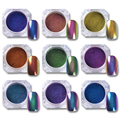1 Unid 0.5g Top-Grade Camaleón Polvo de Uñas Polaco UV Gel Manicura Glitters Nail Art Pigmento de Cromo Brillante (Base negro Color Necesidad)