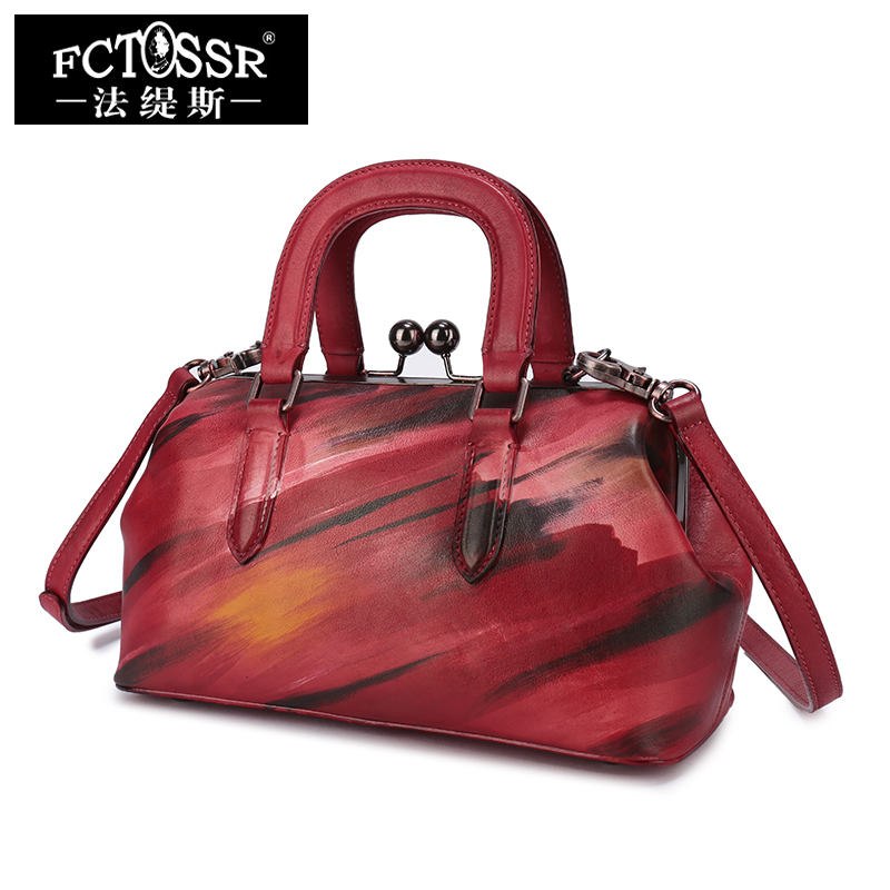 Womens Handbag 2018 Handmade Real Leather Shoulder Lady Bags Frame Style Evening Bags Messenger Single Strap Hand Bags