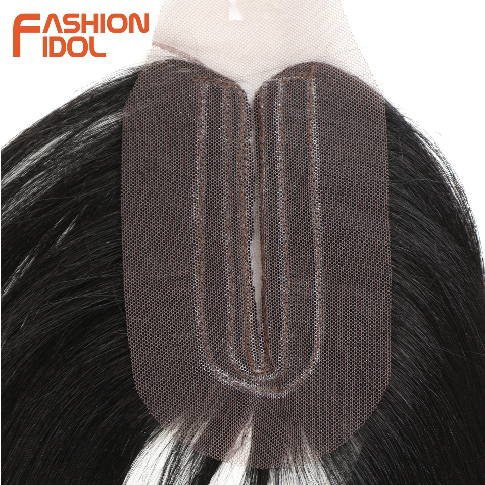 FASHION IDOL Yaki Straight Hair Bundles 7Pcs/Pack 16-20inch Ombre 613# Synthetic Hair Bundles With Closure Weave Hair Extension 4