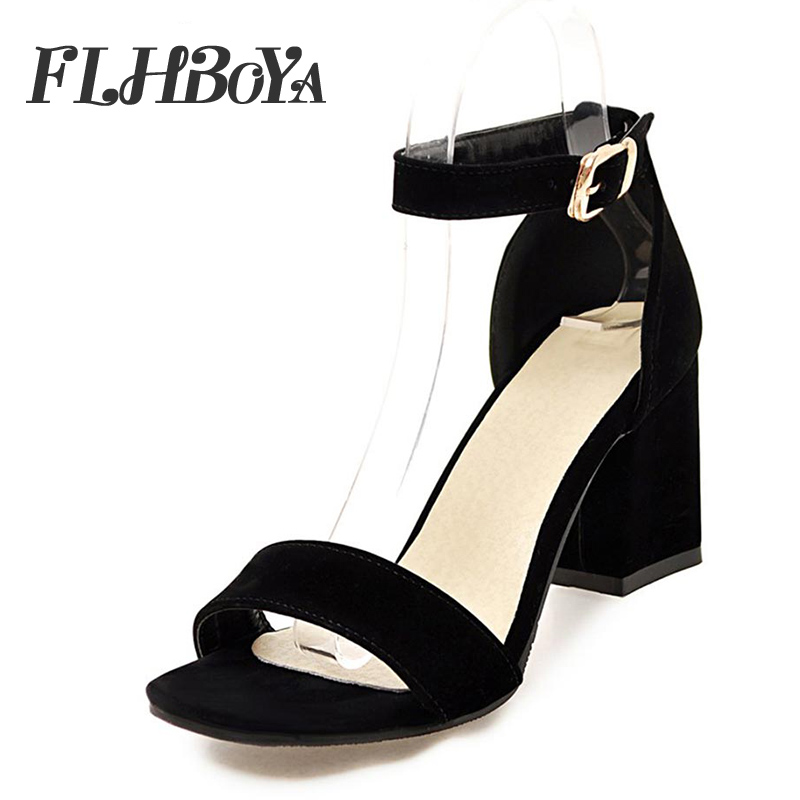 Sandals women 2018 summer med square chunky heels red black Buckle ankle  strap high Block heel open toe party sandals woman pump-in High Heels from  Shoes on ... f2fa645800ba