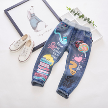 Children's clothing child spring and autumn female child jeans trousers child elastic tight pencil repair skinny pants