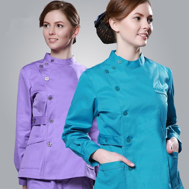New Plus Size Women's Single Breasted Medical Scrubs Set Nurse Uniform Hospital Clothes Sets Long Sleeve Surgical Urbane Scrubs