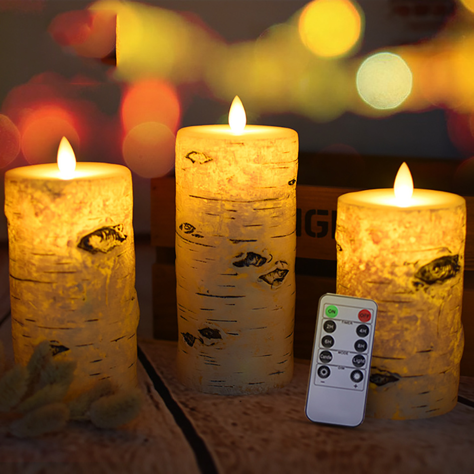 3pcs/set Wireless remote control timer function LED Candle Pillar Flameless Candles velas birthday wedding party Home Decoration