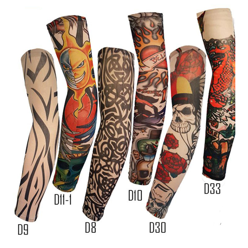 Outdoor Driving Unisex Ice Sleeve Fire Style Special Tattoo UV Protection Code High Elastic Breathable Tattoo Print Arm Sleeve