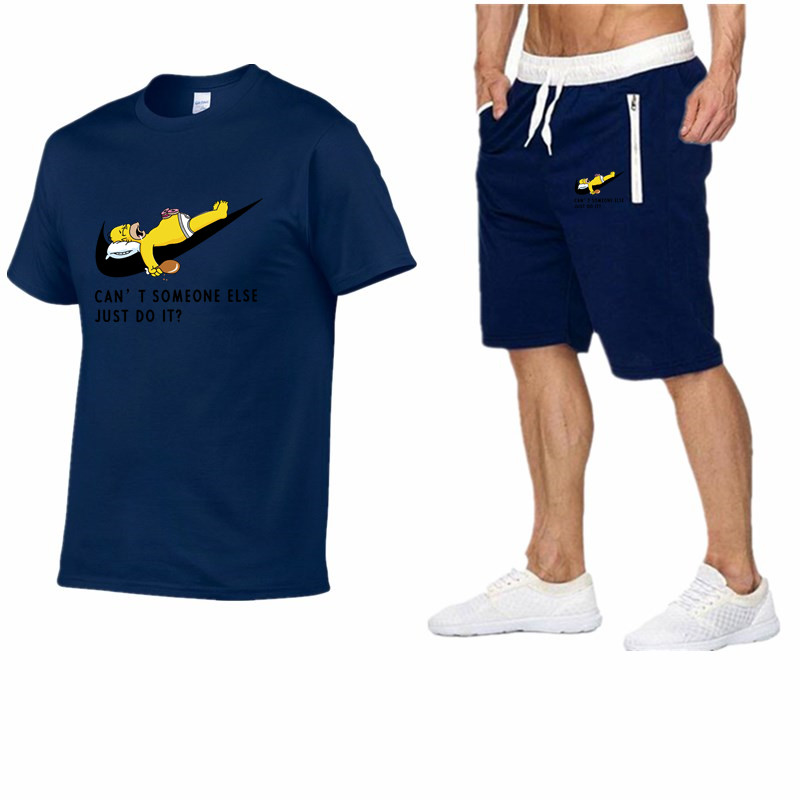 2019 Men Fashion Summer Brand t shirt 100%cotton Sporting tops TrackSuit suit tees+casual shorts two Pieces Set mens clothing-in Men's Sets from Men's Clothing