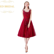 2018 New The Bride Banquet Elegant Wine Red Short Evening Dress Sleeveless  Lace Flower Prom Party bb882585696d
