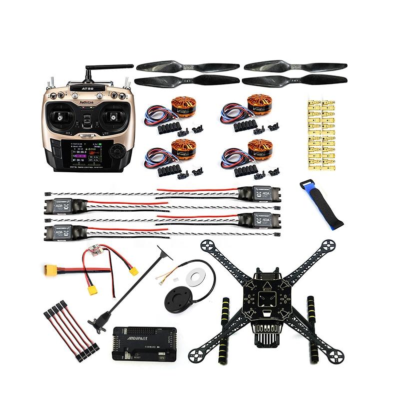 Bricolage FPV Kit Drone avec AT9S TX RX S600 4 axes aérien quadrirotor APM 2.8 commande de vol GPS 7 M 40A ESC 700kv moteur soudé
