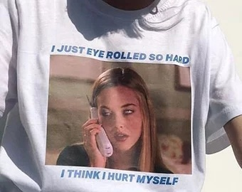 HAHAYULE I Just Eye Rolled So Hard T-Shirt Women Tumblr 90s Grunge White Tee Movie Tee Shirt Hipsters image
