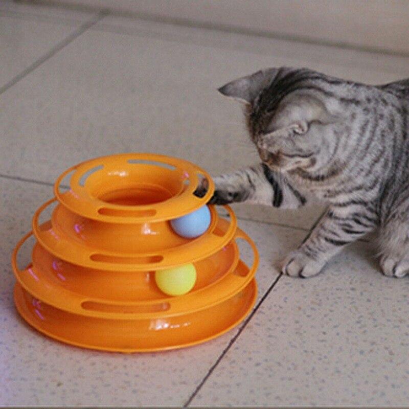 Turm von Tracks Ball und Track Interactive Toy für Katzen, spaß Katze Spiel Intelligenz Triple Play Disc Katze Für Spielzeug Bälle