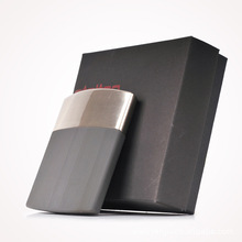 New 1pcs Stelton men's business cigarette case Black stainless steel thin cigarette box holder 10 cigarettes wholesale