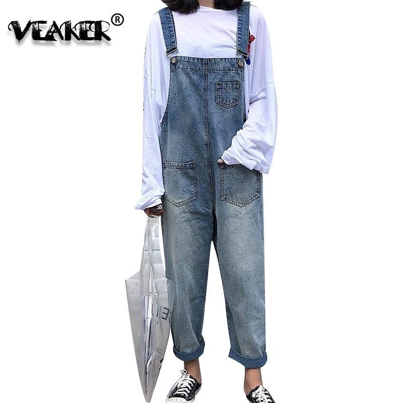 Nieuwe Herfst Womens Denim Bib Overalls Bell Bottom Mode Jeans Jumpsuits Voor Vrouwelijke Boot Cut Bekrast Losse Jarretel Broek Duurzaam In Gebruik