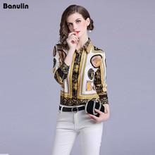 Banulin Work Blouse Women 2018 New Spring Long Sleeve Turn Down Collar Angel Print Office Casual Runway Shirts Chiffon