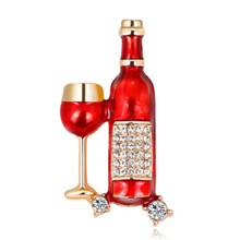 Creative Red Wine Cup Bottle Brooches Full Crystal Enamel Metal Alloy Brooch Pins For Women Men Hats Suit Jewelry