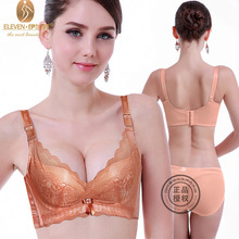High Quality 2016 New Thicken Cup Essential Oil Pad Intimate Lace Deep V Adjustable Push up Bras A/B Cup 6838