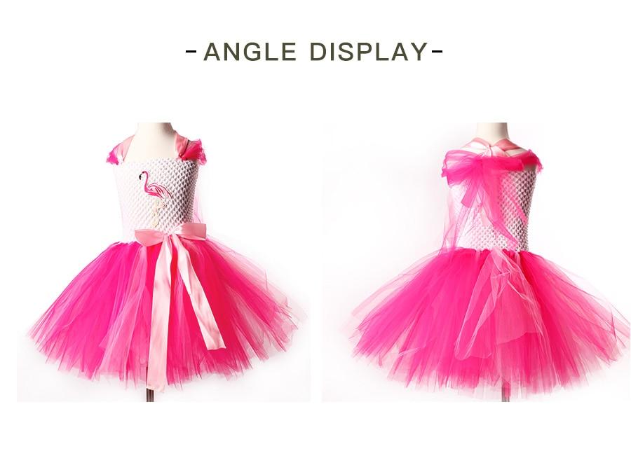 Girls Flamingo Princess Dress Pink Flower Tulle Clothes Kids Birthday Party Dresses 2018 Brand Animal Costume Flamingo Vestidos (3)