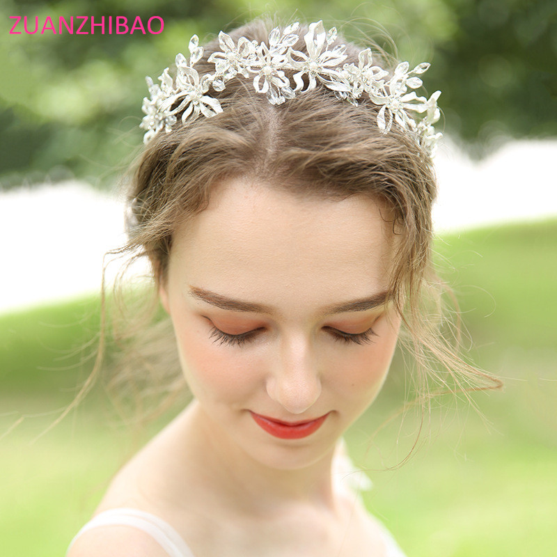 Luxury Flora Handmade Bridal Headband Crystal Rhinestones Alloy Headwear Pearls Hairband Tiara Crown Wedding Hair Accessories