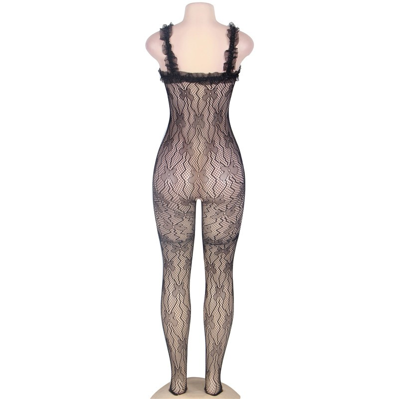 J3139 Black lace trim ropa interior mujer sexy erotica plus size transparent mesh body suit sleeveless open crotch bodysuit 6
