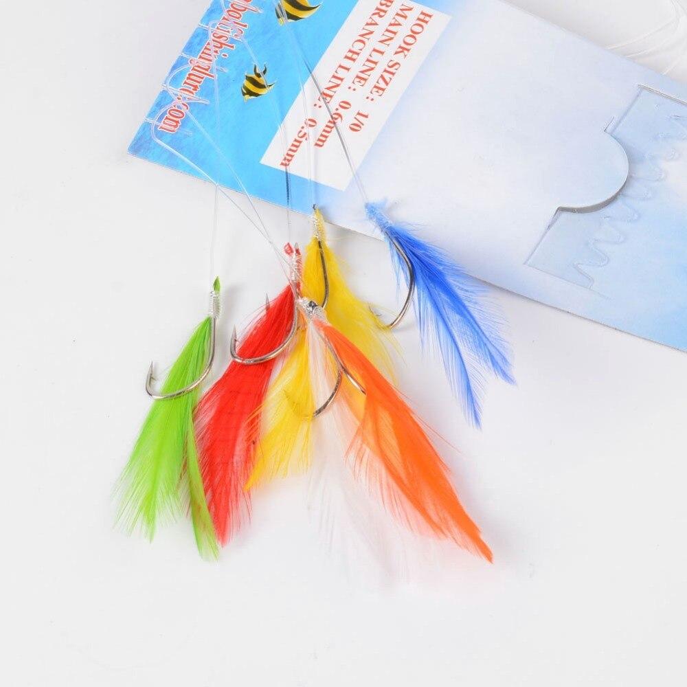 6pcs/Bag String Hooks Daylight Sabiki Hook Fishing Mackerel Feather Lure Sea Herring Fly Fishing Hooks Feather Hooks Wholesale