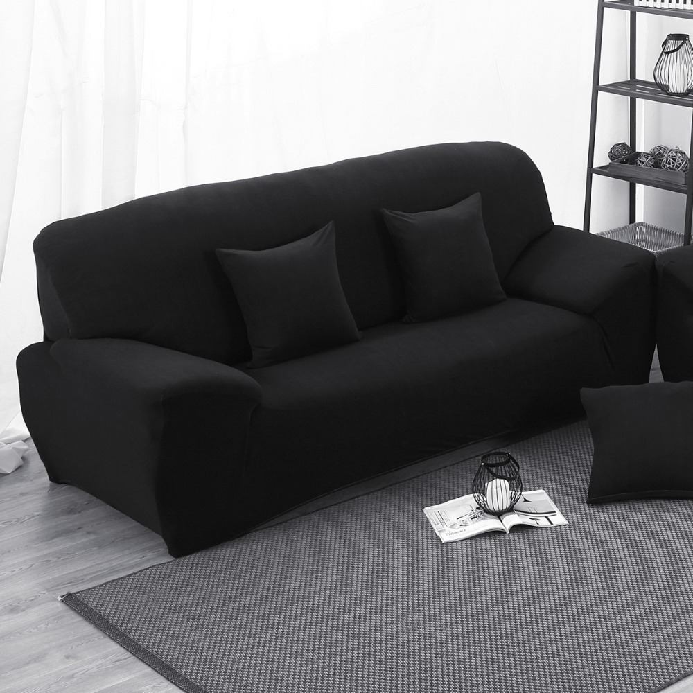 Black Elastic Stretch Sofa Cover Slipcover Solid Black Color Slip ...