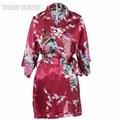 Печать Короткие Атласные Плюс Размер Женская Ночная Рубашка женская Сексуальная Кимоно Ванна Платье Невесты Свадебное Одеяние Платье Ночь Платье