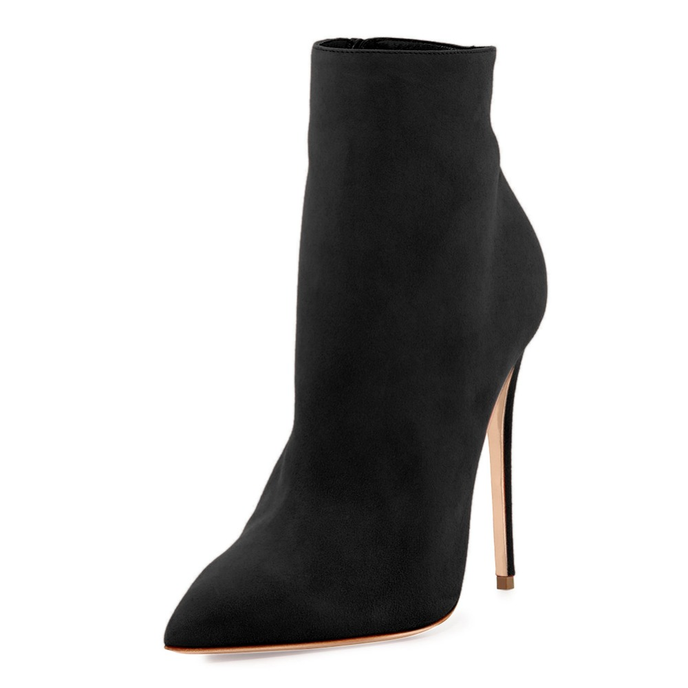 Onlymaker Pointed Toe Ankle Boots for Women Side Zipper Dress Shoes Faux Suede High Heels Short Booties