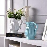 Modern Ceramic Retro Kettle Shape Vase White Blue Vase Artificial Flower Bottle Home Christmas Decoration R708
