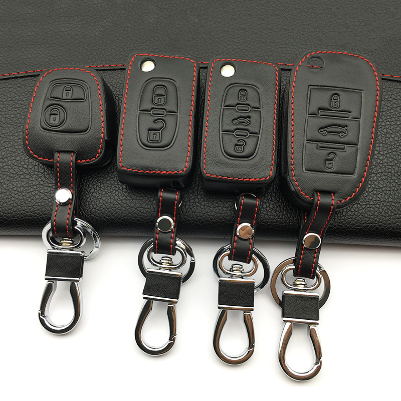 Car Leather Key Cover For Peugeot 407 308 3008 508 207 208 307 408 301 For Citroen Auto Key 3 Button Protector Cover Case Shell