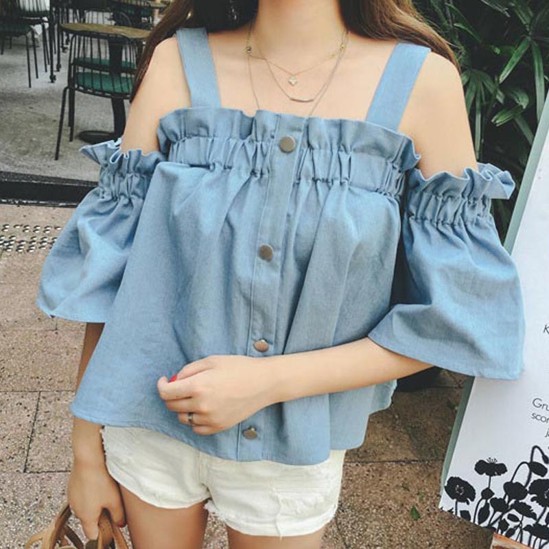 New Women Off Shoulder Summer Tshirt Sexy Slash Neck Ruffles Wide Straps Solid T-shirt Short Flare Sleeve Button Loose Tops W1