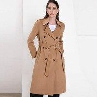 Европа и США 2019 двухстороннее кашемирвое пальто женское тонкое шерстяное пальто с длинным разрезом на талии