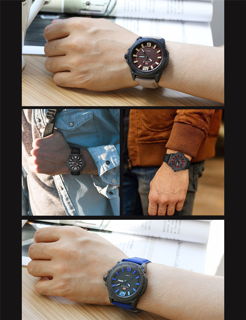 MINIFOCUS Men Watch Top Brand Luxury Fashion Mens Watches Date Week Sport Military Army Leather Band Quartz Male Clock Gift 0136