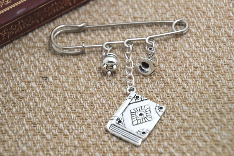 12pcs HP inspired Wizard spells themed charm kilt pin brooch (38mm)