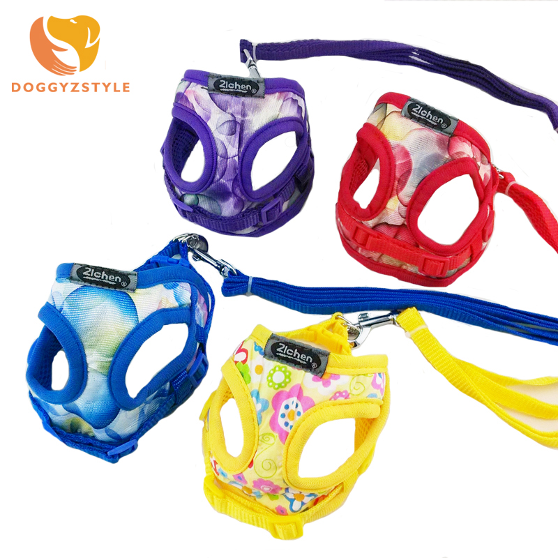 Soft Breathable Satin Dog Harness Vest Nylon Leash Puppy Cat Lead Collar Set Pet Supplies For Small Dogs Chihuahua DOGGYZSTYLE