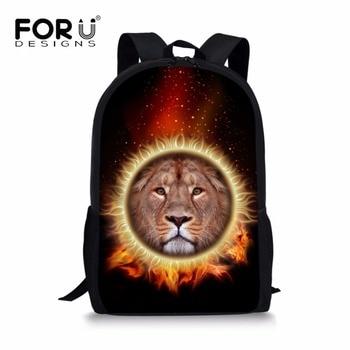 FORUDESIGNS School Bag for Boys 3D Animal Lion Printed School Backpack Large Capacity Preppy College Simple Daypacks Mochila